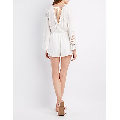 Crochet-Trim Bell Sleeve Surplice Romper