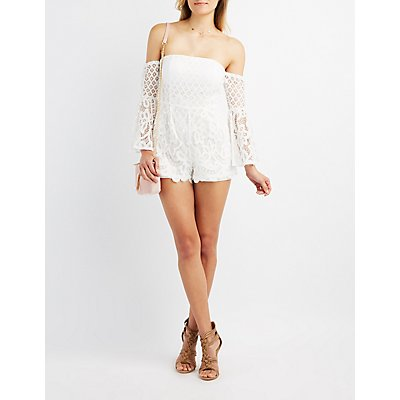 Lace Off-The-Shoulder Bell Sleeve Romper