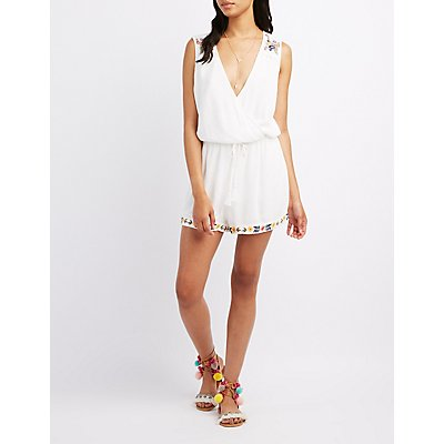 Embroidered Surplice Romper