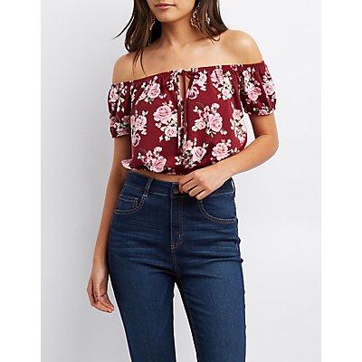 Floral Off-The-Shoulder Crop Top