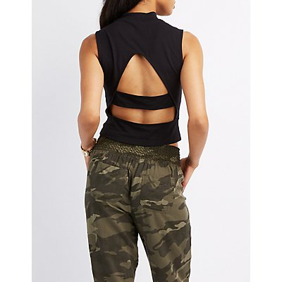 Caged-Back Mock Neck Crop Top