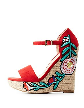 Patch Two-Piece Espadrille Wedge Sandals