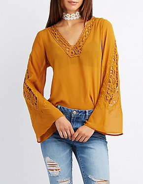 Crochet-Trim Bell Sleeve Blouse
