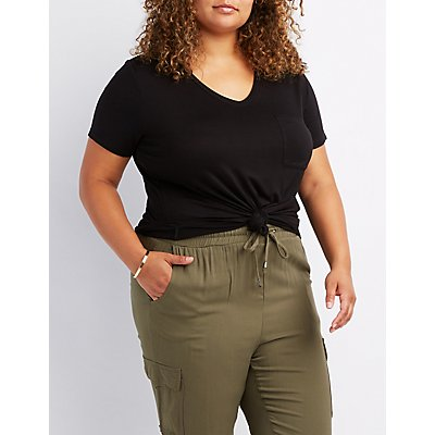 Plus Size V-Neck Pocket Tee