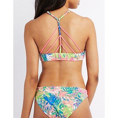 Printed Caged Racerback Bikini Top
