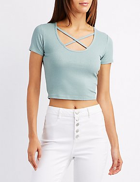 Ribbed Strappy Crop Top