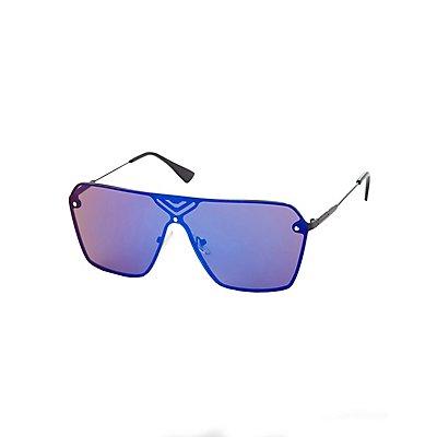 Blue Reflective Shield Sunglasses
