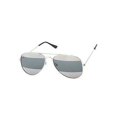 Striped Aviator Sunglasses