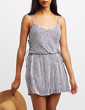 Striped Lace-Up Side Romper