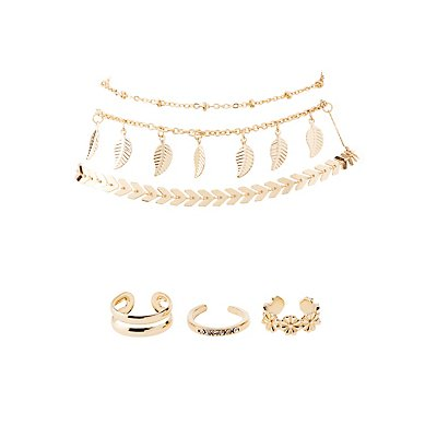 Embellished Anklets & Toe Rings Set