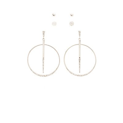 Embellished Hoop & Stud Earrings - 3 Pack