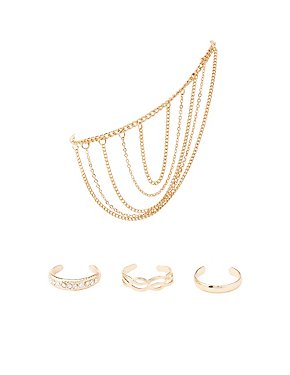 Embellished Toe Rings & Anklet Set