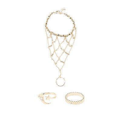 Hand Chain & Celestial Rings Set