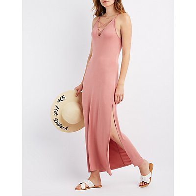 Lattice-Front Maxi Dress