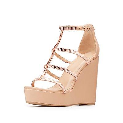 Embellished Caged Wedge Sandals