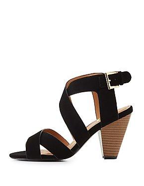Qupid Strappy Cone Heel Sandals