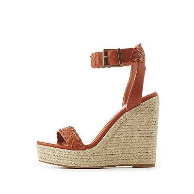 Braided Two-Piece Espadrille Wedge Sandals