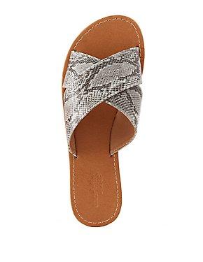 Faux Snakeskin Crisscross Slide Sandals