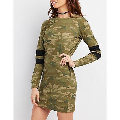 Camo Varsity Stripe Sweatshirt Dress