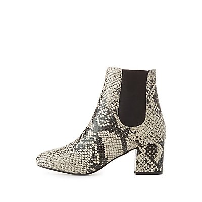 Faux Snakeskin Ankle Booties