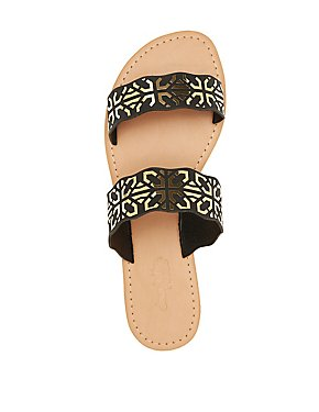 Metallic Two-Band Slide Sandals