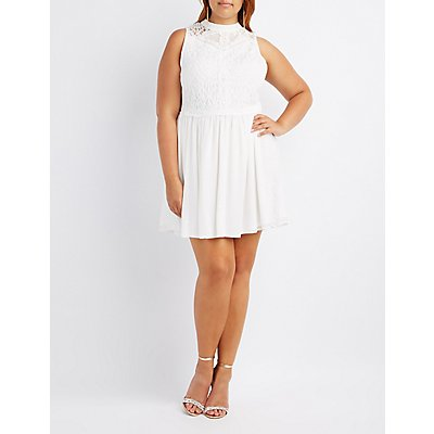 Plus Size Mock Neck Keyhole Skater Dress