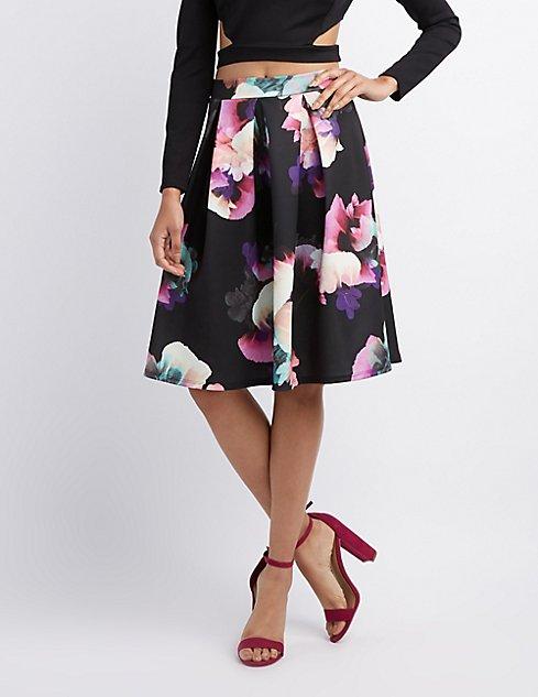 Midi Skirts: Full, Floral & Pleated   Charlotte Russe