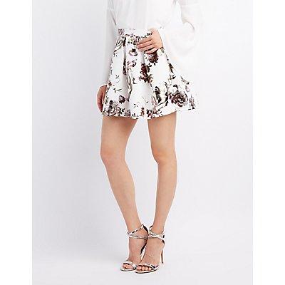 Metallic Floral Skater Skirt