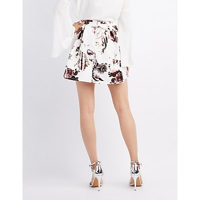 Metallic Floral Skater Skirt