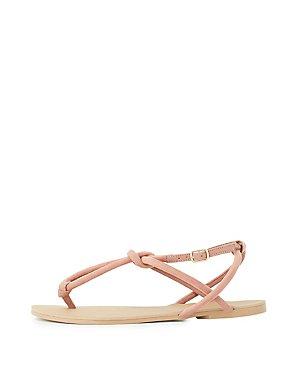 Tubular T-Strap Sandals