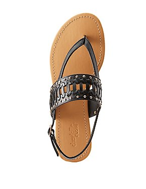 Studded Slingback Thong Sandals