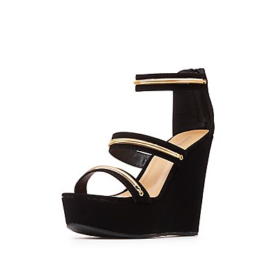 Bamboo Gold-Trim Three-Piece Wedges