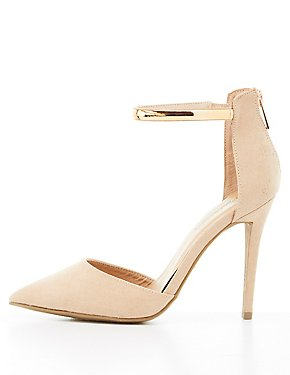 Metal-Trim Pointed Toe D'Orsay Pumps