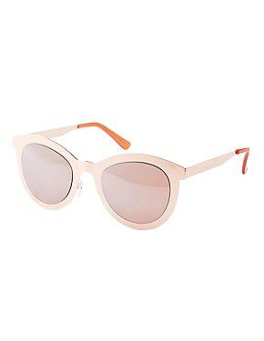 Metal Mirrored Cat Eye Sunglasses