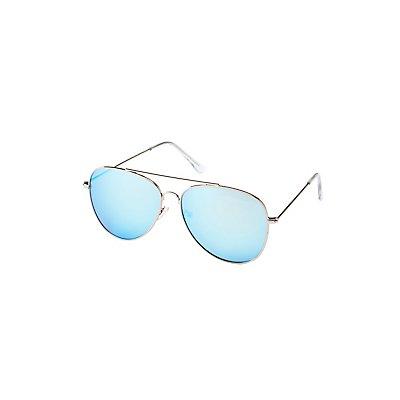 Blue Reflective Aviator Sunglasses