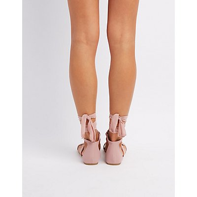 Chiffon Lace-Up Sandals