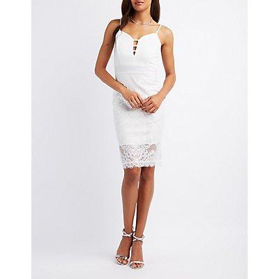Lace Combo Midi Dress
