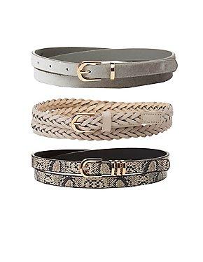 Braided, Faux Snakeskin & Velvet Belts - 3 Pack