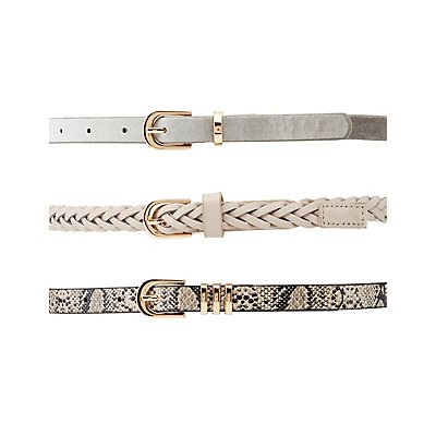 Braided, Faux Snakeskin & Velvet Belts - 3 Pack