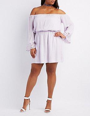 Plus Size Crochet-Trim Off-The-Shoulder Skater Dress