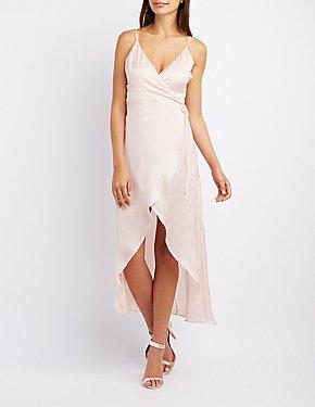 Satin Maxi Wrap Dress