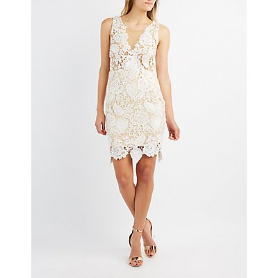 Lace & Mesh Bodycon Dress