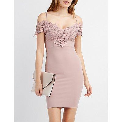 Crochet-Trim Cold Shoulder Bodycon Dress