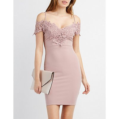 Crochet-Trim Cold Shoulder Bodycon Dress