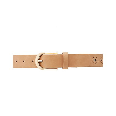 Plus Size Laser Cut Faux Leather Belt