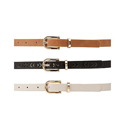 Plus Size Studded, Laser Cut & Faux Leather Belts - 3 Pack