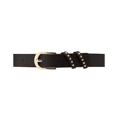 Plus Size Studded Faux Leather Belt