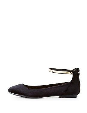 Velvet Gold-Trim Ankle Strap Flats