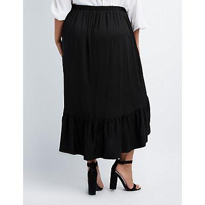 Plus Size Ruffle-Trim Wrap Maxi Skirt