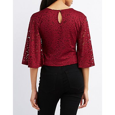 Lace Flutter Sleeve Crop Top